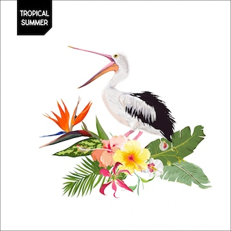 Design tropical com pássaro pelicano e flores