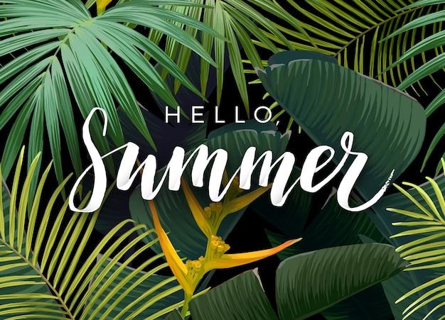 Design tropical de verão com folhas de palmeira verde-escuras exóticas