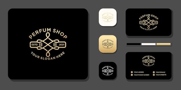 Design vintage de logotipo de perfume de luxo e referência de modelo de cartão de visita