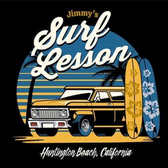Design vintage de surf na praia