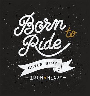 Design vintage desenhado à mão sobre o tema de corridas e motociclistas