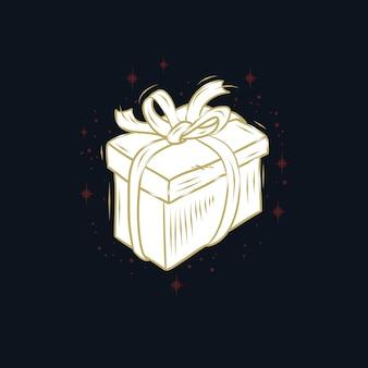 Design wit gift box isolado no preto