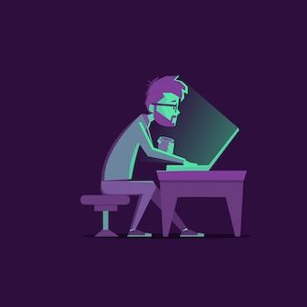 Designer à noite trabalhando
