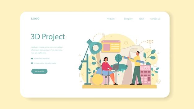 Designer de banner ou página de destino para modelagem 3d