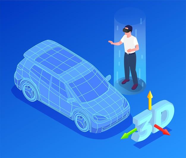 Designer de carros com modelo 3d e ilustração vr