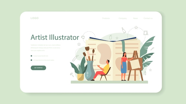 Designer de ilustração gráfica, banner do ilustrador ou página de destino. desenho de artista para livro e revistas, ilustração digital para sites e publicidade.