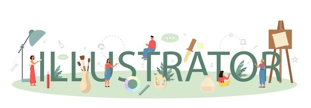 Designer de ilustração gráfica, conceito de cabeçalho tipográfico ilustrador