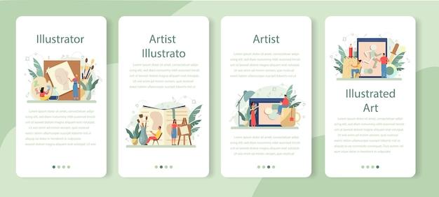 Designer de ilustração gráfica, conjunto de banner de aplicativo móvel ilustrador.