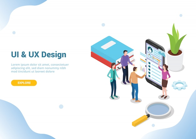 Designer de interface do usuário isométrica para o modelo de site