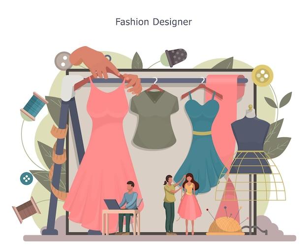 Designer de moda ou conceito de alfaiate. mestres alfaiates minúsculos tomando medidas. profissão de ateliê criativo.