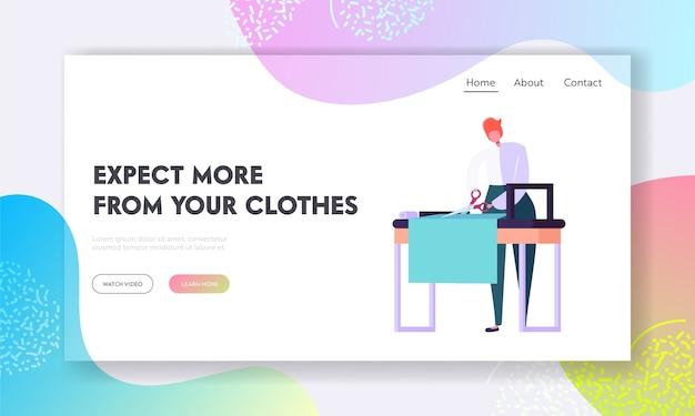 Designer de roupas ou alfaiate trabalhando no atelier landing page template