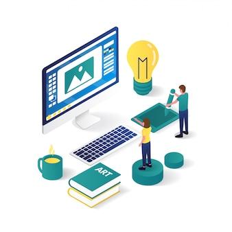 Designer e cliente estão trabalhando juntos na ilustração isométrica de design gráfico 3d.