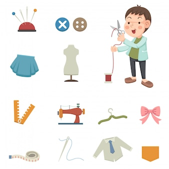 Designer e ícones de equipamentos de costura