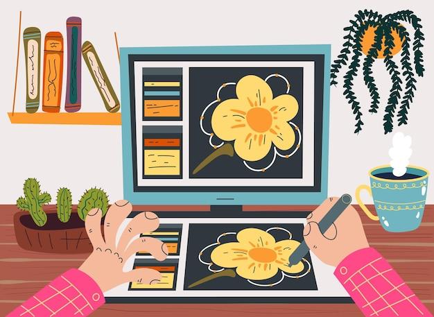Designer freelancer trabalhando em casa