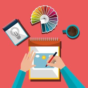 Designer gráfico de idéias criativas