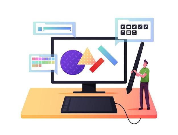 Designer gráfico de personagem masculino minúsculo no huge tablet pc com caneta para criar arte digital