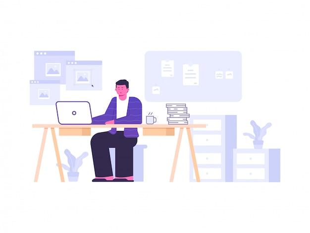 Designer trabalhando ilustração do conceito