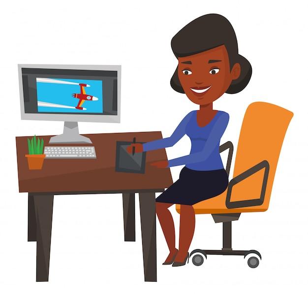 Designer usando a mesa digitalizadora digital.