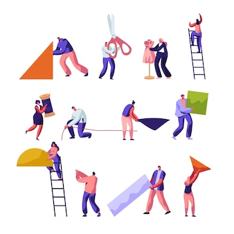 Designers. alfaiataria e conjunto de profissões de trabalhadores de atelier criativo.