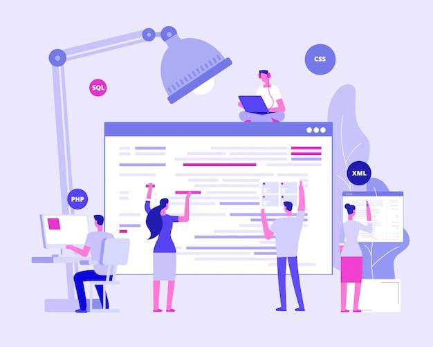 Designers e programadores criando site corporativo