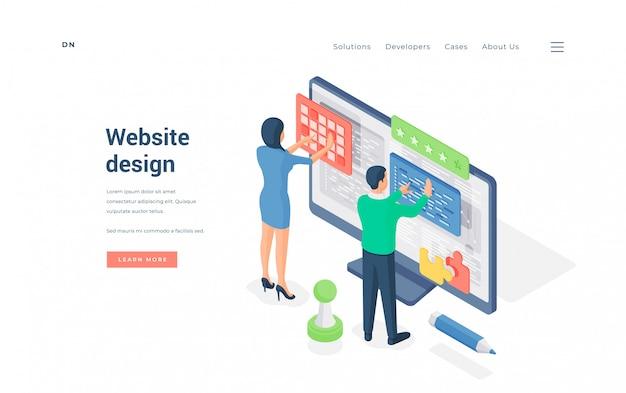Designers que trabalham na interface do usuário do site. ilustração isométrica