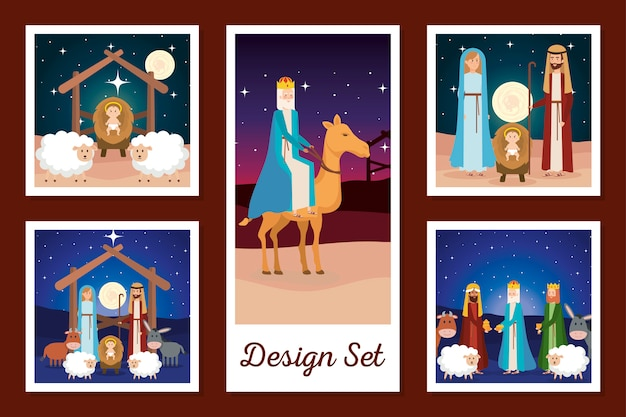 Designs conjunto de caracteres manjedoura