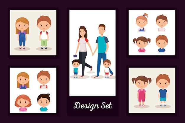 Designs conjunto de pais com filhos