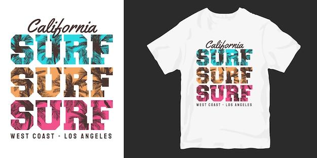Designs de camisetas surf californianas