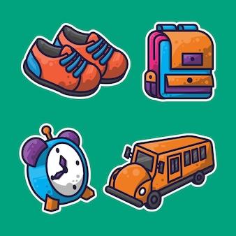 Designs de pacotes educacionais e adesivos para crianças