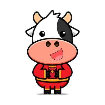 Designs de personagens de vacas fofos em trajes chineses