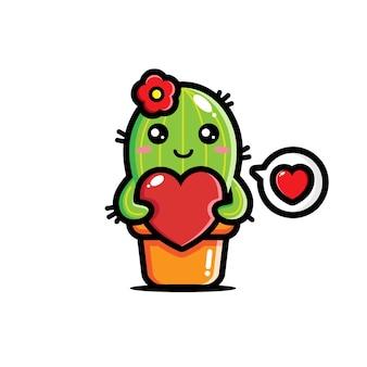 Designs fofos de cactos abraçando corações
