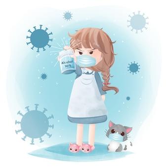 Desinfecção covid-19. linda garota pulveriza álcool 70% para combater o conceito de vírus.