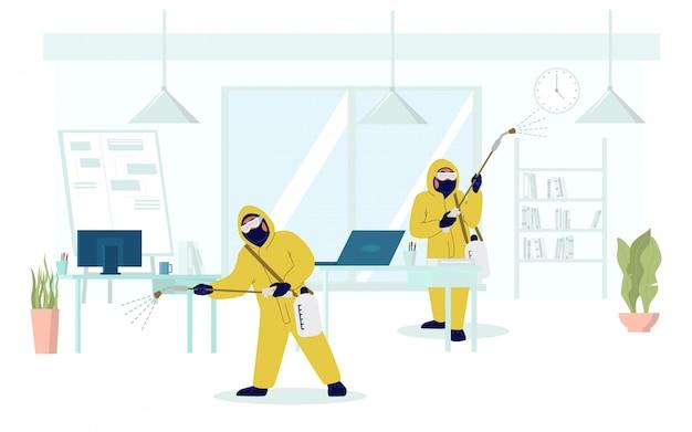 Desinfecção de escritório, prevenção, ilustração plana