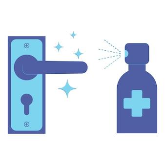 Desinfecção de maçanetas. use um spray anti-séptico para prevenir a propagação de doenças. maçanetas das portas e spray antibacteriano. desinfete a maçaneta da porta com spray desinfetante. ilustração em vetor cor azul