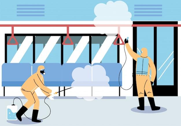 Desinfecção de metrô de serviço por coronavírus ou cobiçada 19