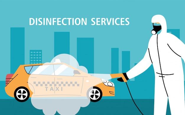 Desinfecção de serviço de táxi por coronavírus ou covid 19