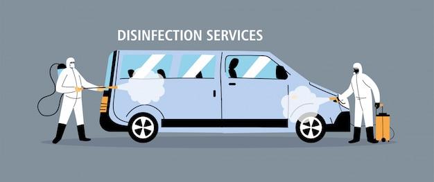 Desinfecção de van de serviço por coronavírus ou vírus 19