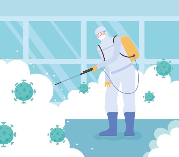Desinfecção de vírus, coronavírus covid 19, homem de medida preventiva com traje de proteção e máscara