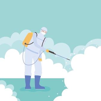 Desinfecção de vírus, homem com traje de proteção, spray para limpeza, covid 19 coronavírus, medida preventiva