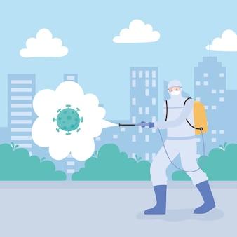 Desinfecção de vírus, homem com traje médico e máscara pulverizando desinfetante coronavírus na cidade, medida preventiva