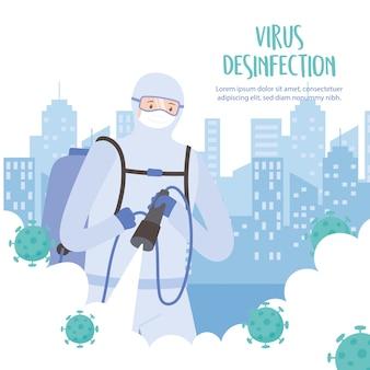 Desinfecção de vírus, homem em traje de proteção pulverizando desinfetante na cidade, covid 19 coronavírus, medida preventiva