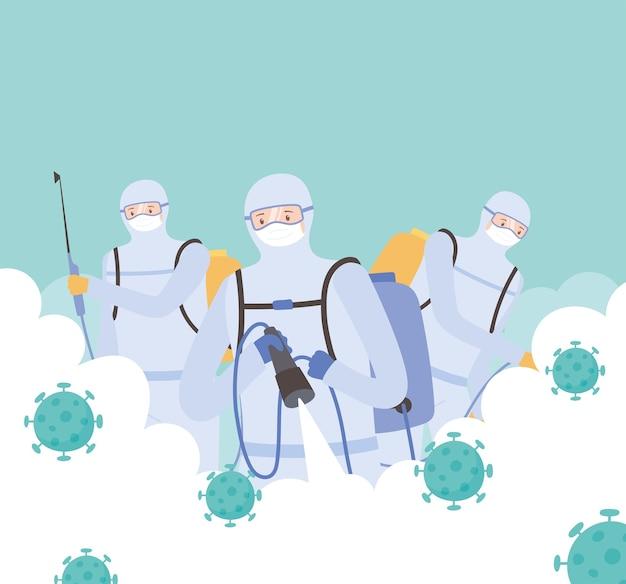 Desinfecção de vírus, homens em traje de proteção pulverizando desinfetante para limpeza, covid 19 coronavírus, medida preventiva