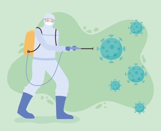 Desinfecção de vírus, limpeza e desinfecção de homem em traje de risco, covid 19 coronavírus, medida preventiva