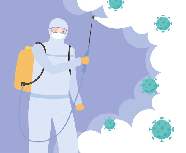 Desinfecção de vírus, médico cientista desinfetando coronavírus, medidas preventivas aprovadas 19
