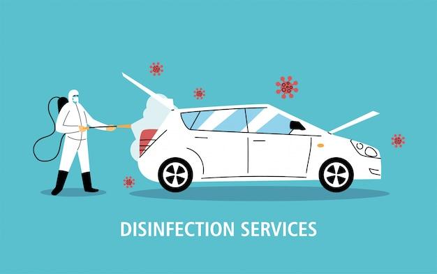 Desinfecção do carro de serviço por coronavírus ou covid 19