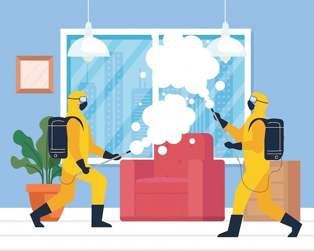 Desinfecção doméstica por serviço comercial de desinfecção, trabalhadores desinfetantes