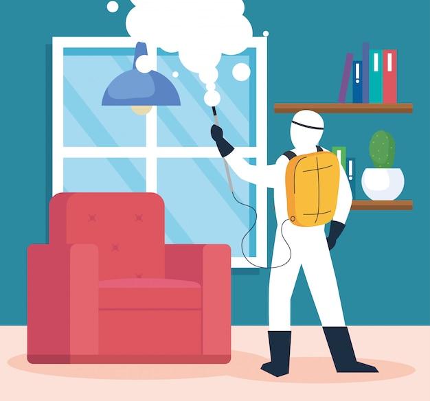 Desinfecção doméstica por serviço de desinfecção comercial, trabalhador de desinfecção com traje de proteção e spray impede 19 cobiçados na casa da sala de estar