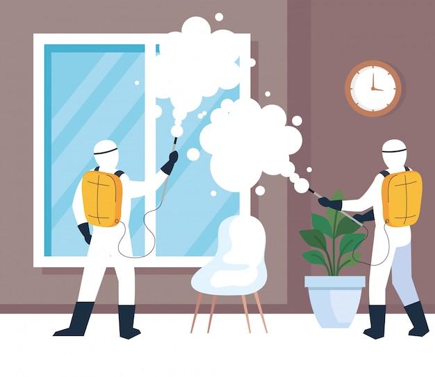 Desinfecção doméstica por serviço de desinfecção comercial, trabalhadores desinfetantes com traje de proteção