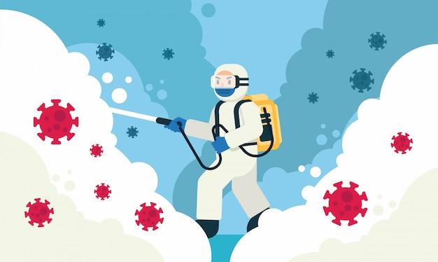 Desinfecção e limpeza de lares e meio ambiente por um homem em ilustração de roupa de segurança branca