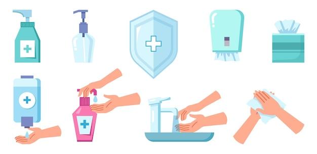 Desinfecção e limpeza de sabão em spray anti-séptico